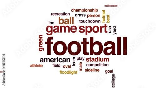 Football animated word cloud, text design animation.