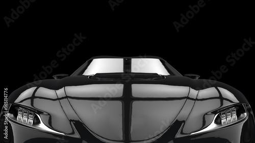 Foto op Canvas Snelle auto s Midnight black super sports car - extreme closeup shot