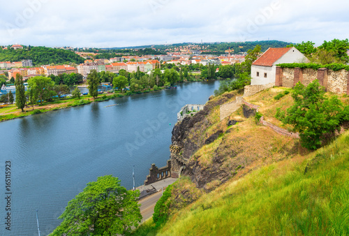 Poster View from Vysehrad Castle over the Vltava River in Prague, Czech Republic