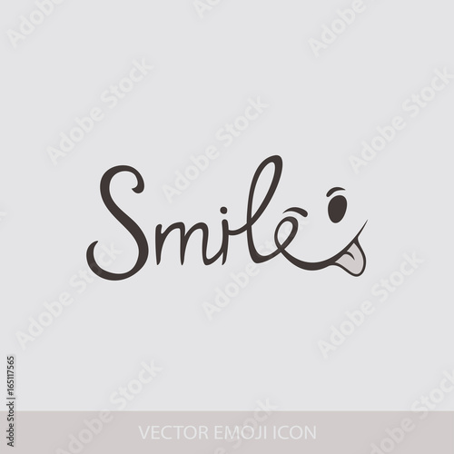 Graphic Emoticon, Emoji. Text inscription Smile icons. Isolated vector illustration on white background