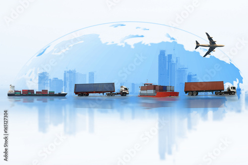 Fototapeta Shipping, delivery car, ship, plane transport on a background map of the world. Delivery Global business of Container Cargo freight train for logistic import export, Business logistics concept