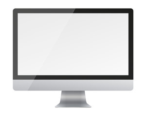 Computer monitor display with blank screen isolated on white background.