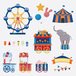 Circus collection with carnival, fun fair. Vector icons and background and illustration collection. - 165144378