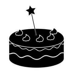 delicious cake with stars celebration icon vector illustration design