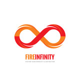 Infinity - vector logo template concept illustration in flat style. Abstract fire flame shape creative sign. Design element. - 165149926