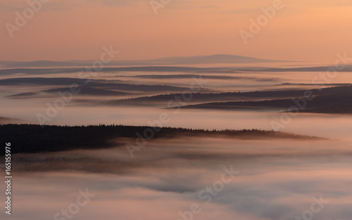 Morning view of the misty valley