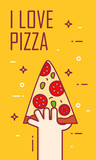 Illustration with hand and slice of pizza. Vector banner for fast food. Thin line flat design card.