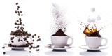 preparazione del caffè in sequenza dal chicco alla tazzina - 165159163