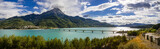 Panoramic view of Serre-Poncon Lake with Savines-le-Lac and its bridge with the Grand Morgon mountain peak in summer. Hautes-Alpes, Durance Valley, PACA Region, Southern French Alps, France - 165159506