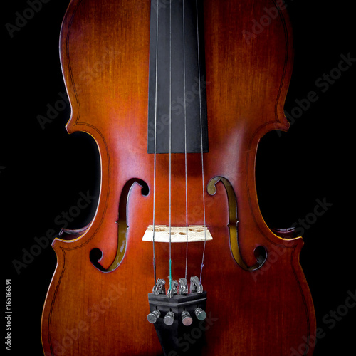 The violin on black background for isolated with clipping path, Close up of violin on black background for cut of, Top view of violin musical for isolated - 165166591