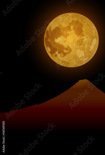 Foto op Canvas Bruin 月 富士山 十五夜 背景