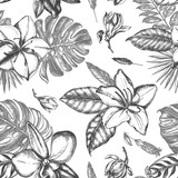 Decorative seamless pattern with ink hand-drawn Tropical exotic flowers and leaves. Vector illustration. - 165169717