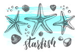Background with sea starfishs. Marine Ink hand drawn elements for design. Template for cards, banners, posters with modern brush calligraphy style lettering. Vector illustration. - 165169956