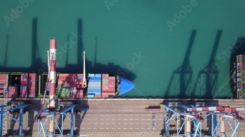 Commercial port with container ship - Top down aerial view.