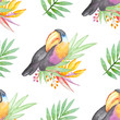 Watercolor tropical pattern - 165184701