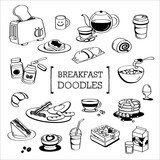 Breakfast menu Doodle, Hand drawing styles of Breakfast menu