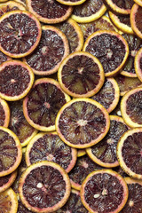 Background of fresh sliced citrus fruits close-up
