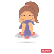 Girl Wipes Her Face  A Towel Color Flat Icon For Web And Mobile Design Sticker