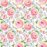 Watercolor floral pattern and seamless background.  Hand painted. Gentle design for fabric, wrap paper or wallpaper. Raster illustration. - 165203557