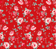 Seamless pattern with vintage pink roses on red background.