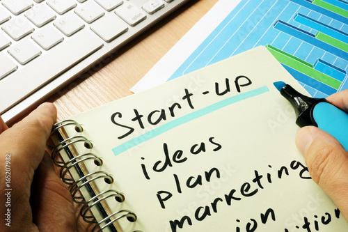 Title start-up with list written in a note.