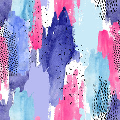Abstract watercolor and ink doodle shapes seamless pattern.