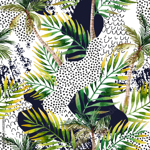 Abstract summer tropical palm tree background. - 165208556