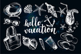 Ink hand drawn set of Beach accessories and marine elements. Sea vacation collection. Template for cards, banners, posters design with modern brush calligraphy style lettering. Vector illustration. - 165212709