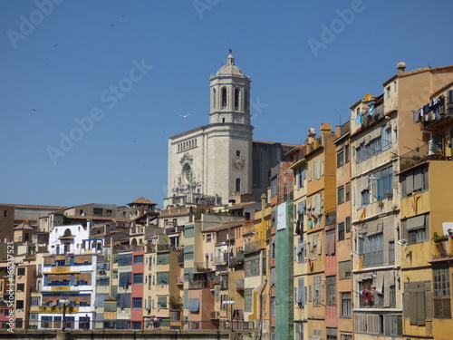 Colorful houses in Girona, Catalonia, Spain with the cathedral above the river T Poster