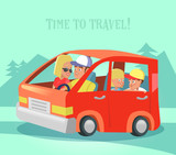 Happy Family Traveling by Car. Time to Travel. Summer Vacations. Vector illustration