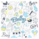 Baby Shower Freehand Doodle. Noworoczne elementy rysowane ręcznie z chłopcem i dziewczynką. Ilustracji wektorowych