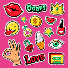 Modern Woman Fashion Doodle with Lips, Crown and Diamonds. Teenager Style Stickers, Badges and Patches. Vector illustration