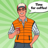 Pop Art Happy Cool Man with Cup of Coffee. Vector illustration