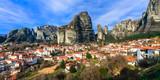 Landmarks of Greece - unique Meteora rocks. view of Kalambaka village - 165224308