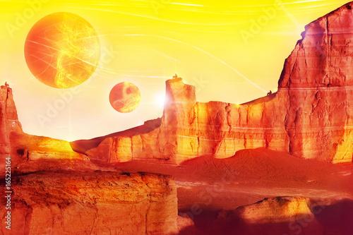 Fotobehang Rood traf. Alien landscape in red tones. Fantastic fairytale concept. Artistic image.