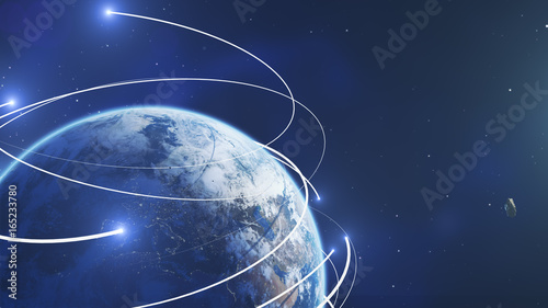 Foto op Canvas Planet earth from space with energy white streaks. Some elements of this image furnished by NASA. 3d illustration. Closeup earth orbit.