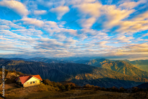 Dramatic landscape with colorful from sunlight at Tonglu trekkers hut