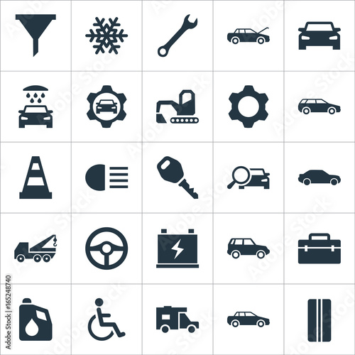 Vector Illustration Set Of Simple Auto Icons. Elements Truck, Snowflake, Auto And Other Synonyms Man, Handicapped And Water. - 165248740