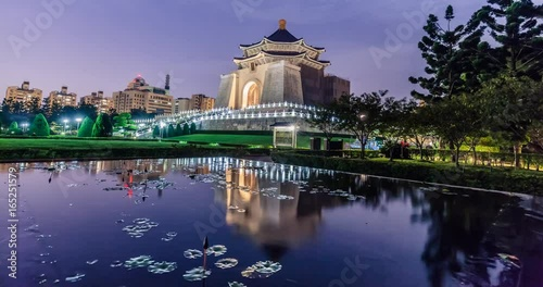 Chiang Kai-shek Memorial Hall in taiwan nightview timelapse