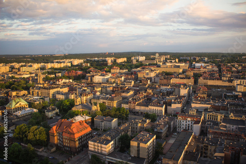 View of Katowice town from the bird's eye view