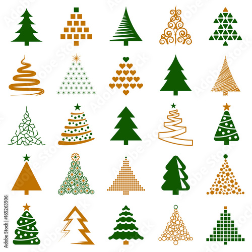 Christmas tree icon collection - vector illustration - 165263506