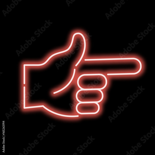 Neon sign hand pointing finger. Red sign on a black background. vector illustration.