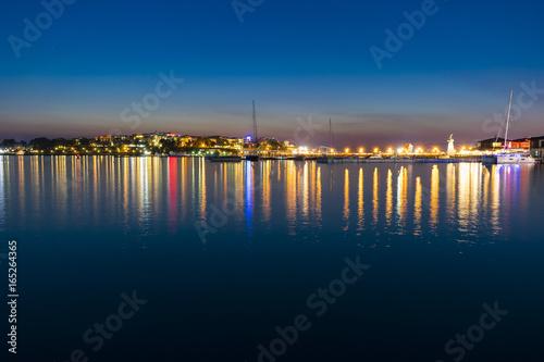 Water reflection of city lights Nessebar