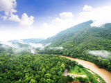 Aerial view of beautiful tropical forest with the river, Shot from drone