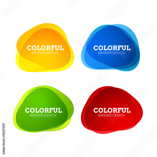 Set of colorful round abstract banners shape. Graphic overlay banners design. Fun label or tag design - 165272117