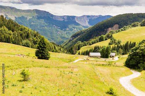 Spoed canvasdoek 2cm dik Oranje paysage des crêtes du Jura