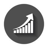 Growth chart icon. Grow diagram flat vector illustration. Business concept on black round background with long shadow. - 165273301