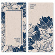 set with two vector blue vintage cards with hand drawn lotus flowers and place for text - 165274958