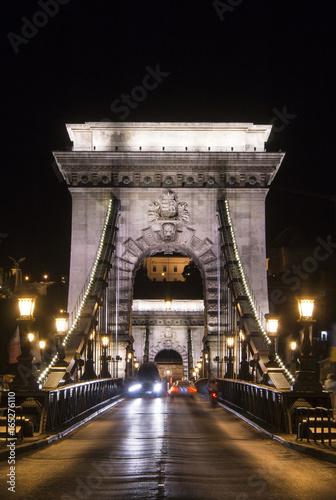 budapest, bridge, architecture, night, hungary, chain bridge, danube, travel
