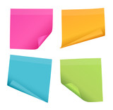 Set of four colorful vector blank post-it note papers with curled corners isolated on white background - 165279771